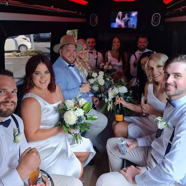 Wedding transport brisbane Pull Up VIP party bus